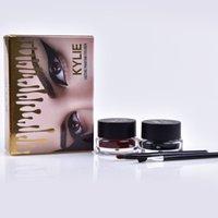 Wholesale Gold Gel Eyeliner - KYLIE Eyeliner gold kylie makeup Eyeliner 2 in 1 waterproof lasting pmantom eyeliner gel Black brown high quality MR226