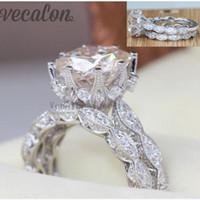 conjuntos de boda al por mayor-Vecalon 2016 anillo de boda de la boda del compromiso del vintage fijado para las mujeres anillo simulado de la plata esterlina del diamante 3ct Cz 925 de la mujer