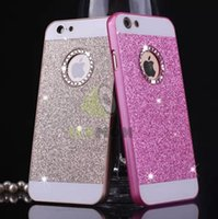 Wholesale Diamond Logo Iphone - For iphone 5 5S 6s Plus Bling Diamond Hard Back Case, Luxury Fashion Hole For Apple Brand LOGO Glittering Case For iphone 5 6