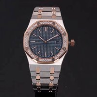 Wholesale Royal Blue Diamond Dresses - 5 stars seller fashion Brand watches women blue dial diamond bezel two tone SS Royal Oak lady Watches quartz watch women dress WristWatches