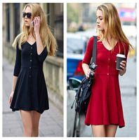 Wholesale Red Mini Cocktail Dresses - 2016 Autumn Dress Plus 100% Cotton 3 4 Sleeve Dress Women Fashion Casual Mini Dress Cocktail Dress Slim V-neck Women Dress Red Black Dresses