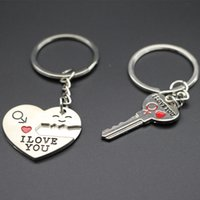 Wholesale I Love Romantic - Sweet Honey Day Gift Heart Shape Keychain + Key Shape Keychain Lover Pair Keychains Express I Love You Support Customized Logo Keychain2016
