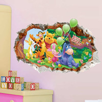 Wholesale Decal Paper Wholesale - Cartoon Winnie the Pooh Wall Stickers Nursery Kids Room Home Decor Mural Decal free shipping in stock