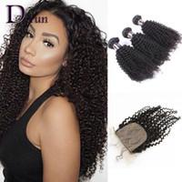 Wholesale Malaysian Curly Silk - 3 Bundles Kinky Curly With Silk Base Closure Peruvian Indian Malaysian Brazilian Hair Bundles Unprocessed Kinky Curly Virgin Hair Extensions