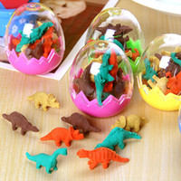 Wholesale Mini Eraser Rubber - Wholesale-Free shipping 10 sets cartoon eraser dinosaur shape eraser fashion gift stationery 1 set =1 egg=8pcs mini dinosaur shape eraser