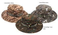 Wholesale Tactical Bucket Hats - Camouflage wide-brimmed hat outdoor fisherman Bucket Hats Camo Wide Brim Sun Fishing cap Camping Hunting CS Tactical Gear 8colors