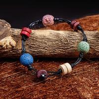 cuentas de color natural al por mayor-Lava Rock Beads Charms Bracelets 2016 Dulce antifatiga Natural Volcanic Rock Charm pulseras para mujeres colores cuentas pulseras