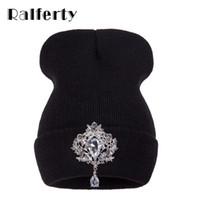 Wholesale Bonnets Women - Ralferty Winter Women 'S Hats Luxury Crystal Accessory Headgear Beanie Hat For Women Caps Female Beanies Bonnet Femme Gorros