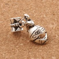 Wholesale European Knight - 3D Knight Helmet Charm Beads 100pcs lot 28.8x13mm Antique Silver Dangle Fit European Bracelets Jewelry DIY B408