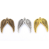 Wholesale Unique Wings - Retro Silver Gold Wing Patterned Charms Pendant Jewelry Findings For Unique DIY Making Bracelets 50pcs lot