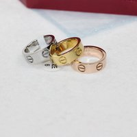 Wholesale titanium couple ring black - 6MM & 4MMStainless Steel new Love couple ring silver wedd ring width titanium ring for lovers with stone and rose gold jewelry