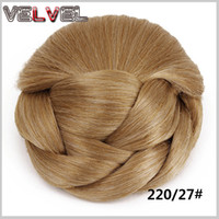 Wholesale clip updo - Wholesale-Coque De Cabelo Synthetic Hair Chignon Bun Hairpiece Updo Extensions Clip in Hair Bun Chignon Fake Hair Bun VELVEL
