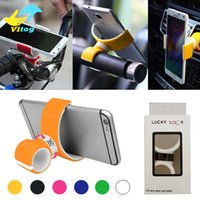 Wholesale Bicycle Double - 360 Degree Rotating Air Vent Mount Bicycle Car Cell Phone Holder Double C Style Stand Portable Universal for Iphone Samsung with retail box