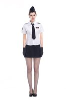 Wholesale Stewardess Top - Newest Design Lady Fasion Stewardess Uniforms White Tops Black Short skirt Black Hat Tie And Black Gloves Fashion Cool Navy Costume Exotic