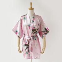 розовые невесты оптовых-Розовый Павлин кимоно невесты свадебный подарок свадебное платье невесты халат жениха SR8