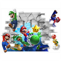 Wholesale super mario decal stickers for sale - Group buy Super Mario Bros through wall creative stickers funny movie d vinyl decals for kids rooms decoration anime poster