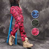 Wholesale Loose Cotton Pants For Women - Camo pants For Women Casual Outdoor Camouflage Military Cotton Loose Trousers Multi-Pockets Street Cargo Pants For Female