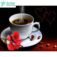 Wholesale Coffee Mosaic - Zhui star full square drill Diamond embroidery coffee cup&rose 5D DIY diamond painting Cross Stitch Rhinestone mosaic decoration