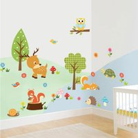 Wholesale wallpaper cartoon owl - Hot Cute Animals Wall Stickers Zoo Tiger Owl Turtle Tree Forest Vinyl Art Wallpaper Home Decor Kid Baby Room