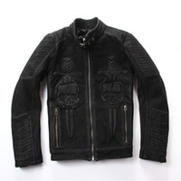 Wholesale Genuine Leather Biker Jacket - 2017 Men Black Genuine Skull Leather Motorcycle Jacket Real Thick Nubuck Cowhide Plus Size XXXXl Slim Fit Leather Biker Coat
