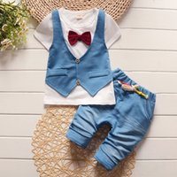 Wholesale Baby Boy Summer Formal Suit - 2017 Summer spring Cotton Baby Boys Clothing Sets Children vest fake two jacket tops+ Shorts Kids formal Clothes Suits