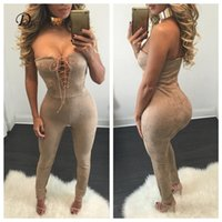 Wholesale lace rompers xs - Wholesale- 2016 Fashion autumn Bodysuit Sexy Lady Off shoulder suede Rompers Women Jumpsuits lace up v neck bodycon long playsuit overalls