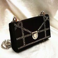 Wholesale Diamond Key Chain Crystal - Woman Fashion Vintage Bag Black Velvet Evening Bag With Crystal