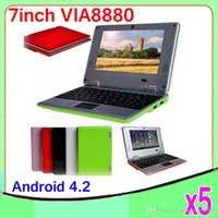 Wholesale Android Netbook 7inch - 5PCS 7Inch Dual core Android 4.2 VIA 8880 Netbook Notebook Google with Camera HDMI 512MB 4GB MINI Laptop ZY-BJ-1