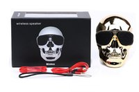Connexion Aux Mini Haut-parleurs Pas Cher-10pcs / lot 2016 Halloween Blutooth connection Stereo TF Card AUX Support Skull Bluetooth Speaker pour iPhone Samsung