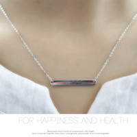 Wholesale Usa Polishes - Pendant S925 sterling silver simple polished good luck bar necklace high quality real rhodium fashion jewellery USA style free shipping