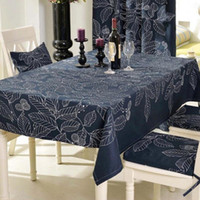 Wholesale Black White Tablecloth Cotton - Modern Style Rectangular Tablecloths Black and White Leaves Printing Table Cloths for Party Picnic Hotel Home Deorations