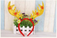 Wholesale Hairbands Adult - Cute Antlers Christmas Headband Fancy Festive Stag Deer Ears Hairbands Headwear For Kids Adults Xmas Decor Favors QY-066