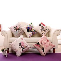 ingrosso piccoli fiori decorativi-La bambina cuscino fiore fresco (senza inserto) Cotone Lino Tiro Federa colorata Cuscino decorativo Home Migliore regalo 240544