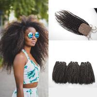 4a cheveux vierges achat en gros de-4a, 4c, 4b Fermeture de base Afro Kinky Curly Silk avec faisceaux Filtrations de cheveux vierges mongoles 8-30inch Aucun rejet Aucun enchevêtrement G-EASY