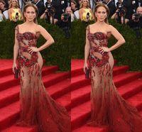 gala bir araya geldi toptan satış-2016 Jennifer Lopez Met Gala Seksi Illusion Abiye ile Bir Omuz Kolsuz Sheer Aplike Sequins Mermaid Sweep Tren 2017