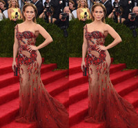 Wholesale Met Dress - 2016 Jennifer Lopez Met Gala Sexy Illusion Evening Dresses One Shoulder Sleeveless Sheer with Applique Sequins Mermaid Sweep Train 2017