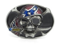 Buckles black eyed man - The one eyed Pirate Skull with rebel scarf Belt Buckle