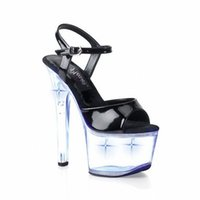 Wholesale Stylish Crystal CM Super High Heel Platforms Pole Dance Shoes Inch Gorgeous High Heels Flash Crystal Shoes