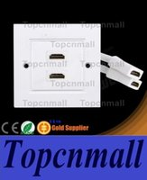 Wholesale Repeater Panel - Free shipping Dual Ports 2 Ports HDMI Wall Face Plate Panel Repeater Connector With Cable 50pcs