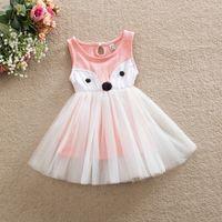 Wholesale Wholesale Linen Vest - Girls princess dress 2016 new children cute fox vest tulle dress kids cotton linen sleeveless dress children sundress