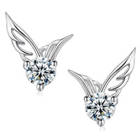 weißgold engel flügel ohrringe groihandel-Factoy sale 120pairs lot Angel Wings Earring Cubic Zirconia Women Party Stud Earring white gold plated Casual Crystal Retro fashion Earrings