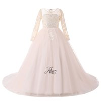 ingrosso immagini belle abiti-Foto reali Vintage Princess Girls Pageant Dress 2018 Nice Kids Birthday Gowns Flower Girl Abiti con maniche lunghe Ball Gown Tutu