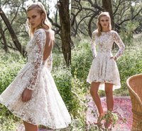 Wholesale Jewel Nude Beach - 2017 Lace Short Beach Wedding Dresses Sheer Long Sleeves High Low Bridal Gowns Sexy Backless vestisdos de novia Nude Underlay