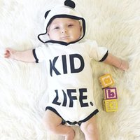 Wholesale Short Sleeve Hoodie Kids - Baby Romper Panda Black White Newborn Baby Boys Girls Clothes Hoodies Kids Jumpsuit Romper Outfit 0-24M