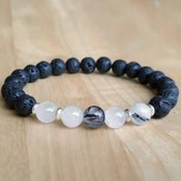 Wholesale Trendy Bracelets For Men - SN1161 Trendy Designer Rutilated Quartz Lava Bracelet Men Yoga Bracelet Black Energy Good Luck Bracelet Gift for Him