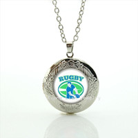 Wholesale man balls pictures for sale - Group buy Cool ball fan jewelry locket necklace sport rugby football team sporter character picture men party accessory NF038