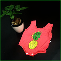 Wholesale Kids Christmas Outfits Cheap - baby girls rompers infant toddler kids outfits pineapple print watermelon color hot selling children jumpsuits real factory cheap price
