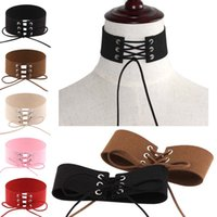 Wholesale Leather Necklaces For Men Chokers - hip hop jewelry choker Fashion chokers necklaces vintage Collars Retro Wide Velvet Ribbon Lace-up cheap necklace for men women
