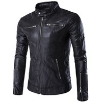 Wholesale Cool Leather Mens Coats - 2016 New Fashion Punk Cool Harajuku Motorcycle Mens Leather Jackets And Coats Black Slim Fit Leather Jacket Men