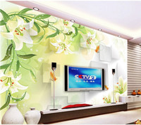 Wholesale Photo Print Paper Sizes - Lily Flowers Tv background wall paper silk cloth 3d wallpaper seamless mural Customize any size murals photo